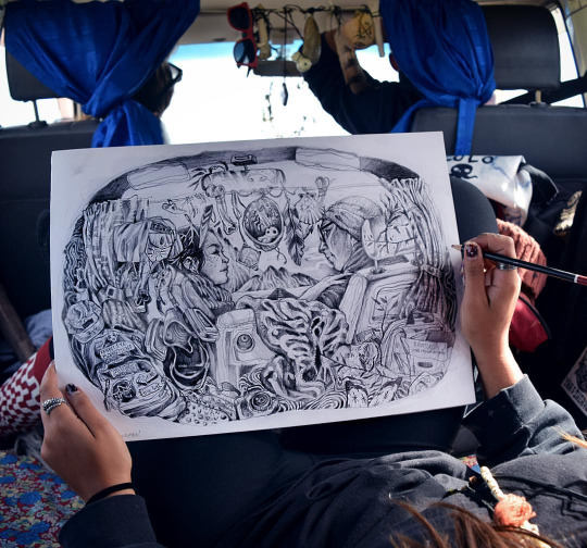 Drawing in the South Island of New Zealand