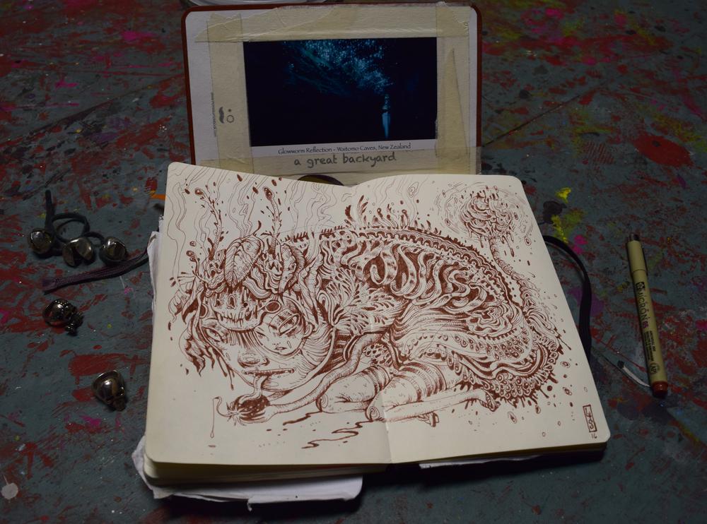 """Glow Worm,"" Sketchbook at Everfresh studios, Melbourne"