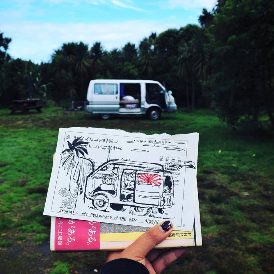 "Drawing of ""Sashimi"" the van (South Island, NZ)"