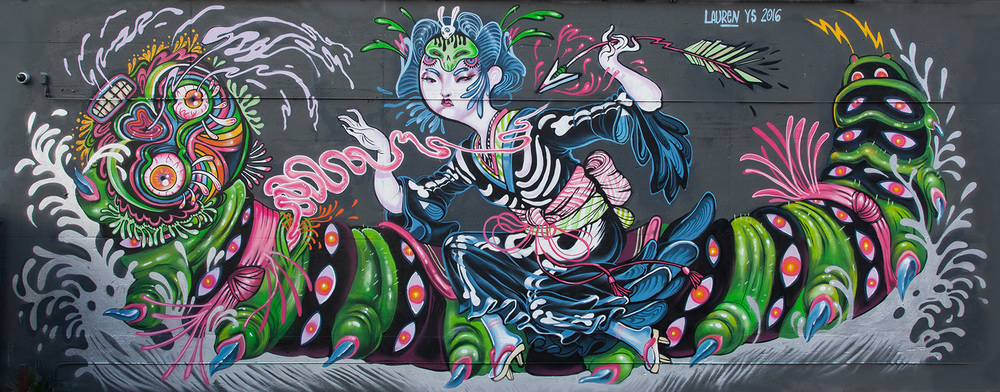 """""""battle of the caterpillar kaiju"""" at The Container Yard, LA"""