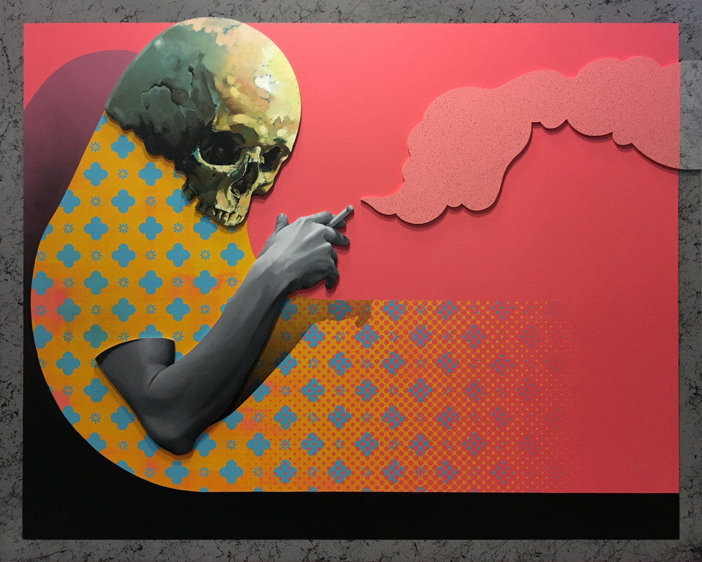 Frail Heaven by Michael Reeder Oil, Acrylic and Aerosol on Assembled Wood Panel. 48 Inches x 60 Inches. 2017.