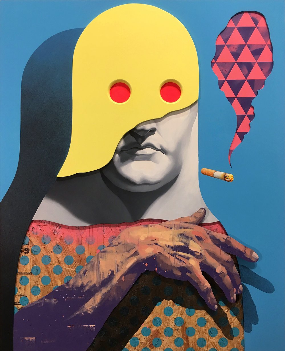 Dream Slayer by Michael Reeder Oil, Aerosol, Acrylic, Enamel and Plastic on Assembled Wood Panel. 24 Inches x 30 Inches. 2017.