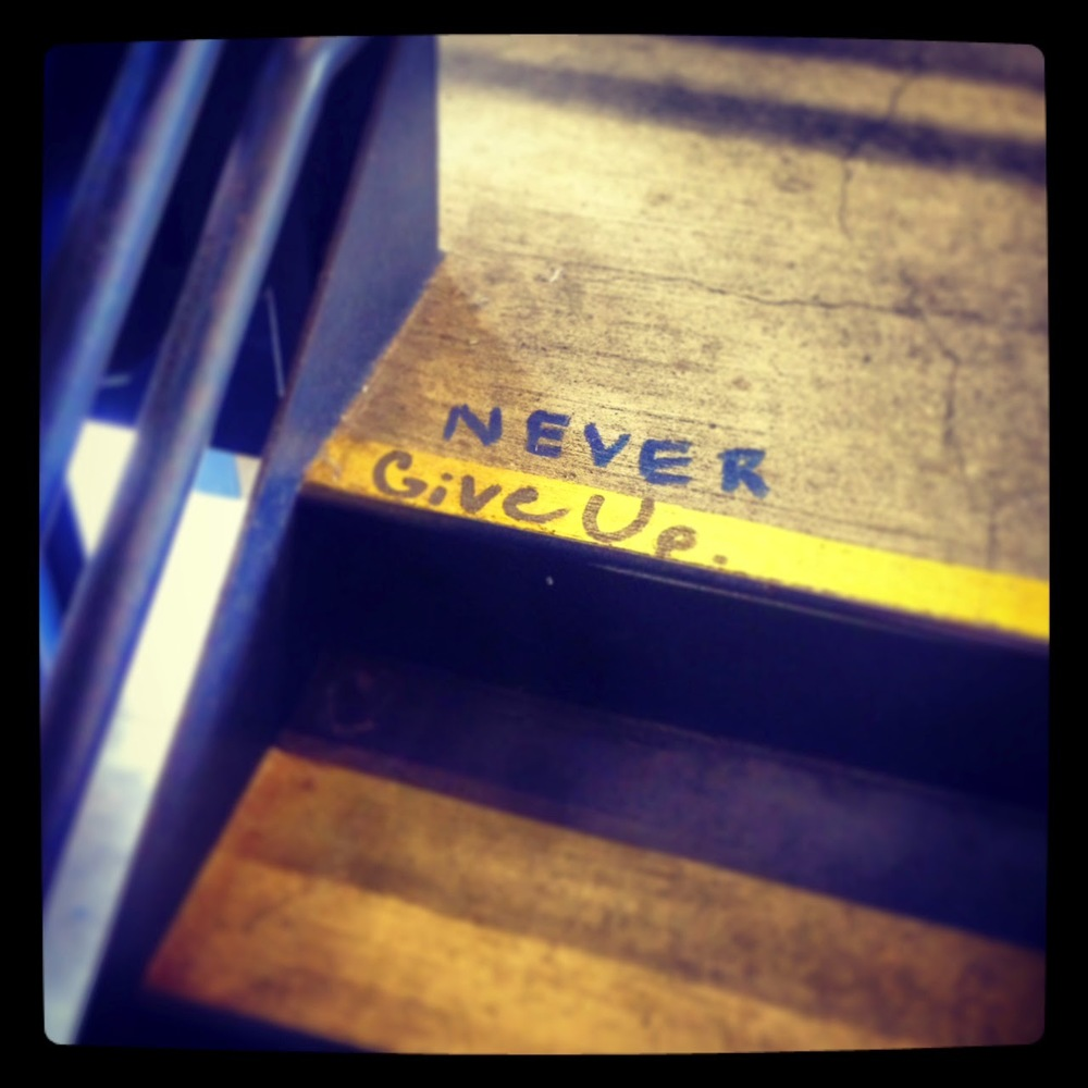 Spotted on the stairs of Berkeley Bowl West. Advice for both life and writing.