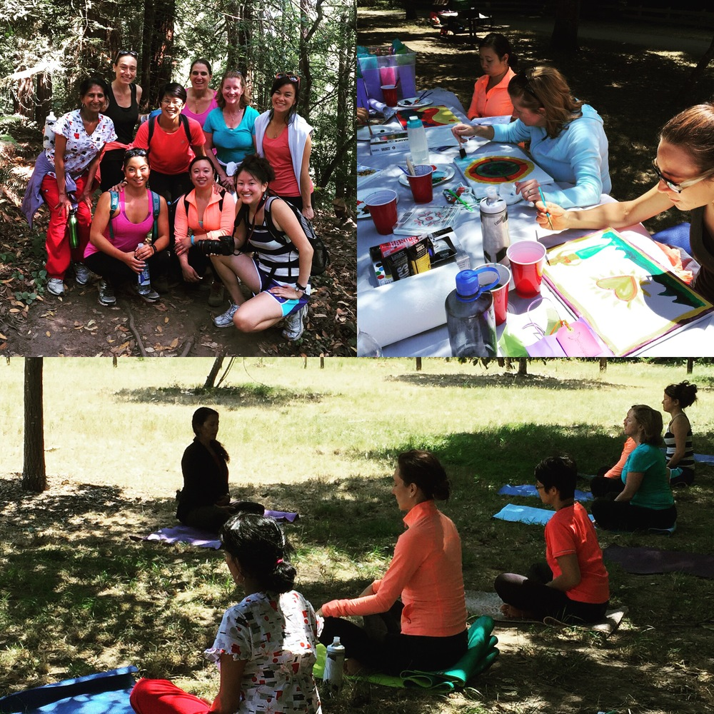 Hiking in the redwoods, yoga on the grass, exploring our 'core desired feelings' and representing them via acrylic painting.  (Photos by: Micki Keh)