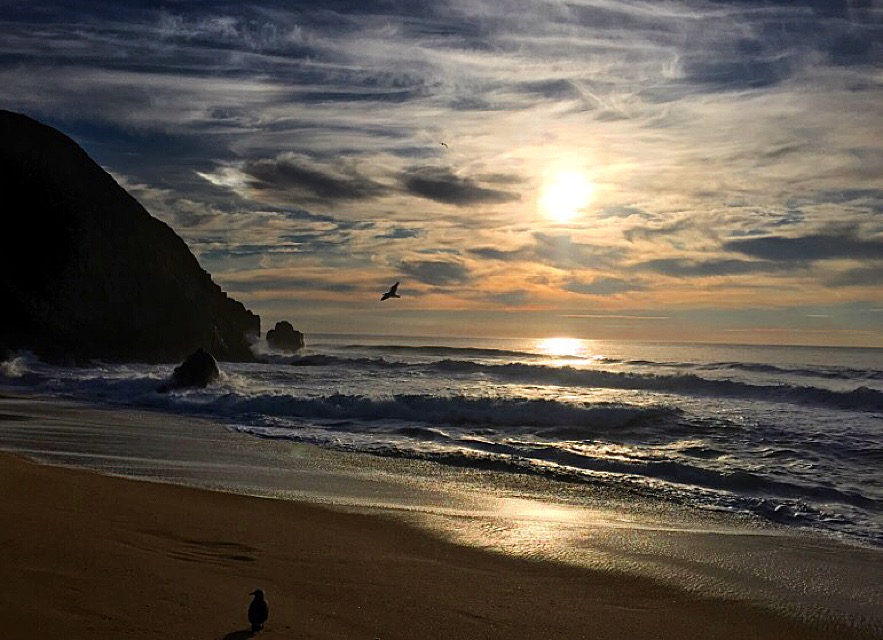 Sunset at Gray Whale Cove Beach.