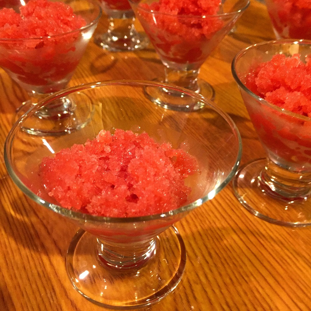 Watermelon, strawberry and lime granita, our final palate cleanser.