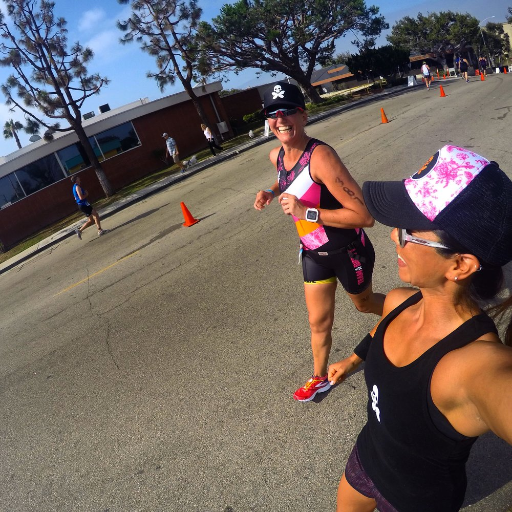 Alison killing it on the race course at Solana Beach Triathlon, July 2016