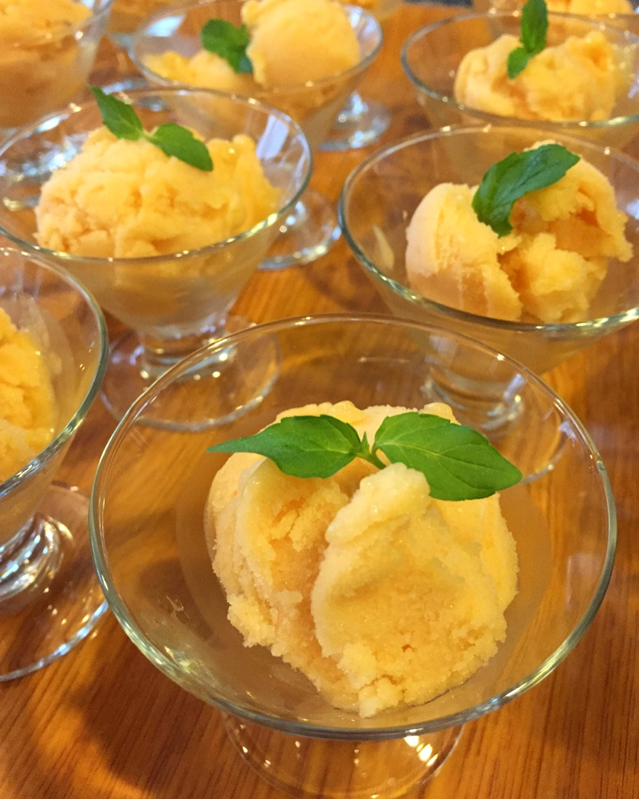 Peach and lavender sorbet.