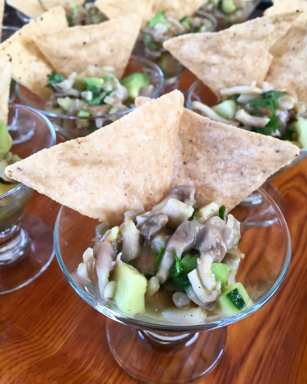 Oyster Mushroom Ceviche: A play on classic seafood ceviche with oyster mushrooms, cucumber, avocado, and pink grapefruit.