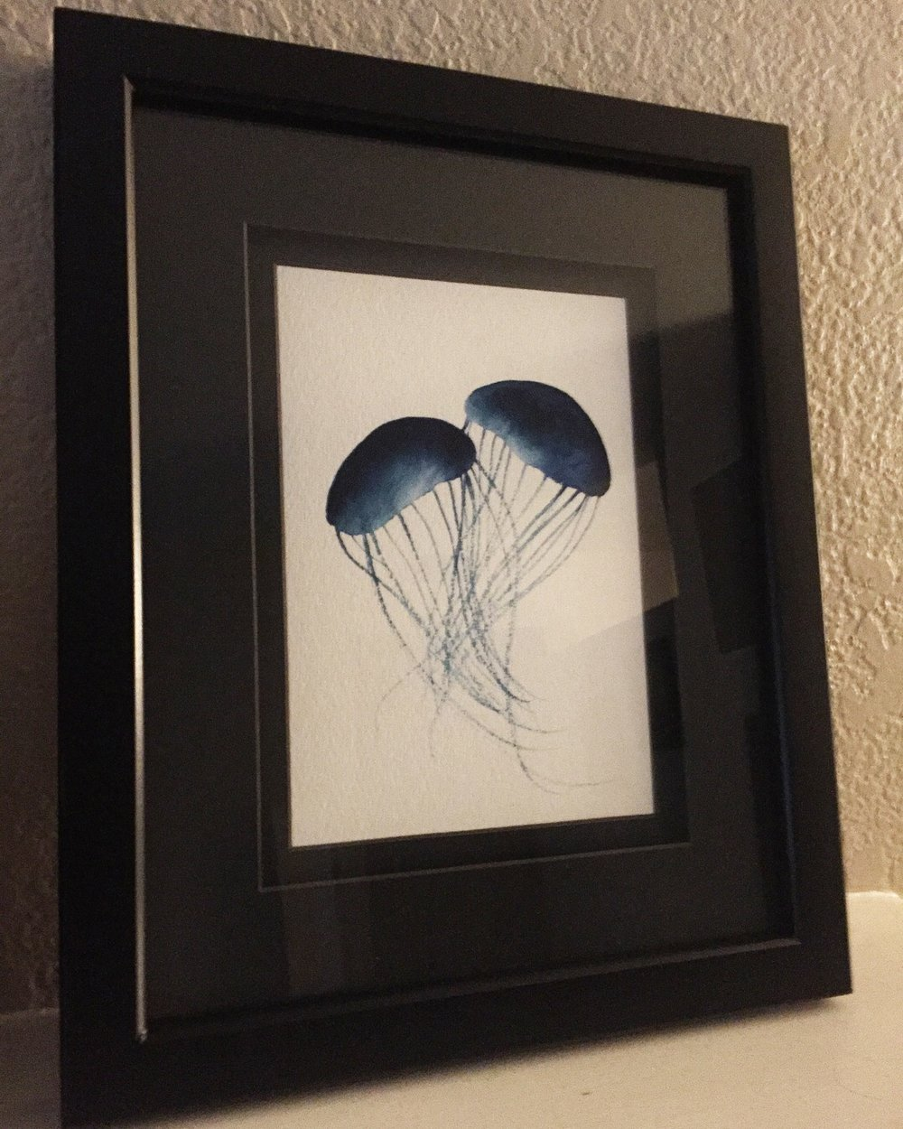 "Framed jellyfish 5 x7"" original watercolor is now available for purchase in Kanzaki Shop."