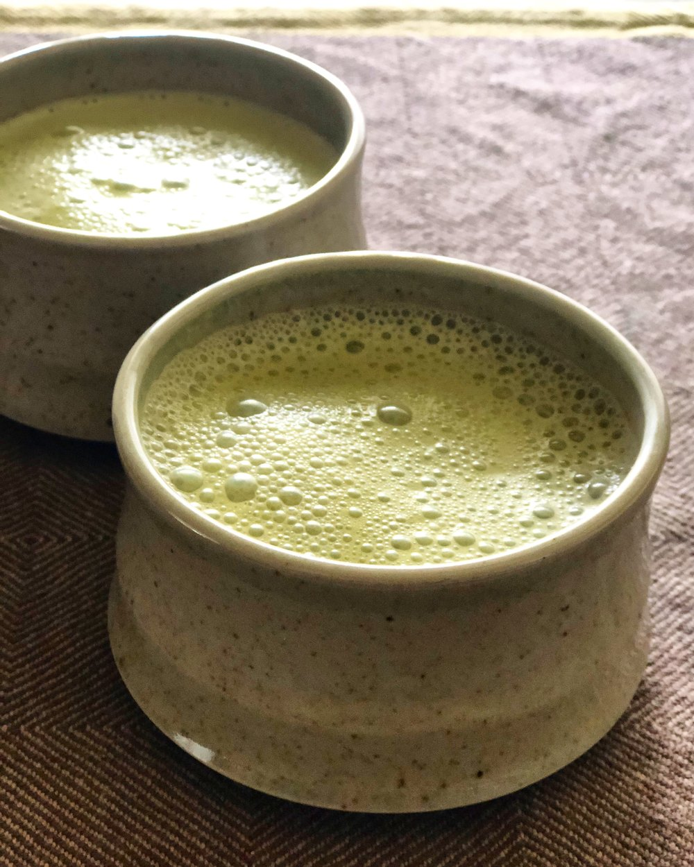 Enjoying some Matcha Tea Lattes in my dad's ceramic mugs... :)
