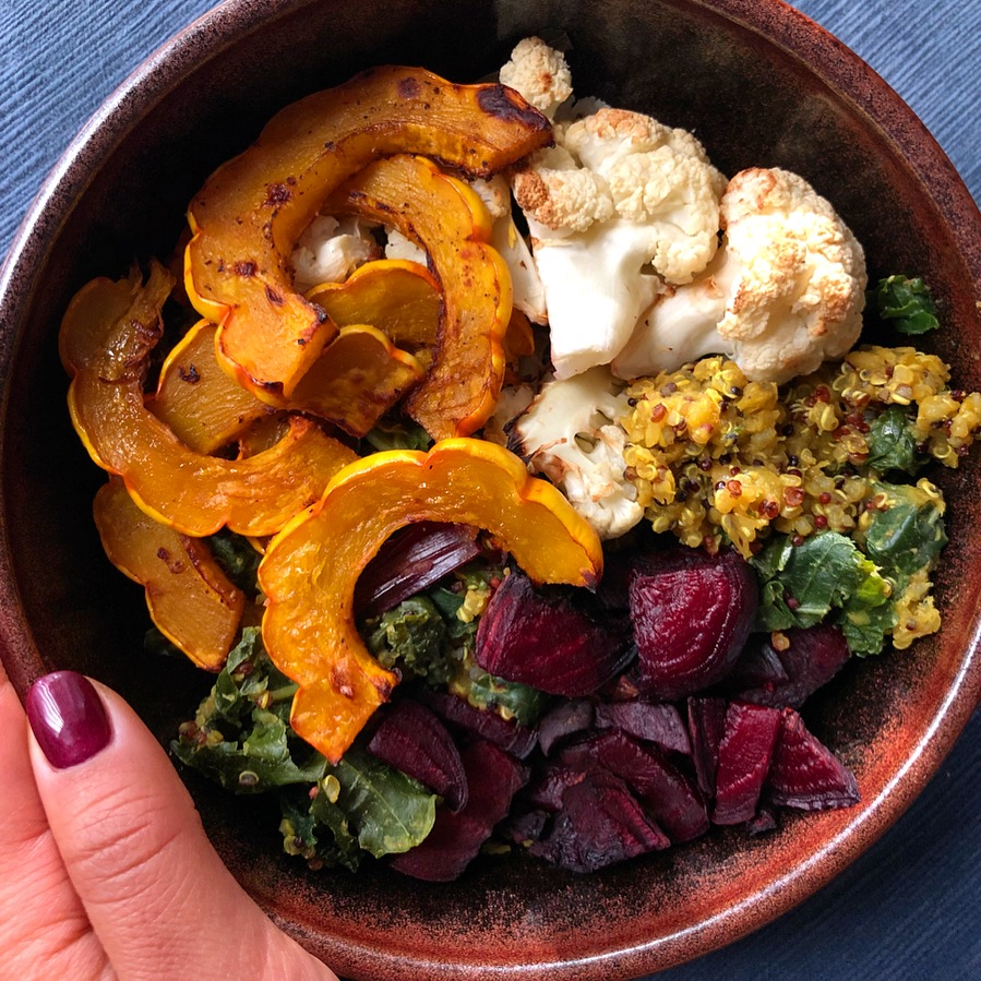 Today's creation- roasted delicata squash with a splash of balsamic finish, roasted beets, roasted cauliflower, quinoa/red lentils with sauteed baby chard, kale, and the fresh beet greens.