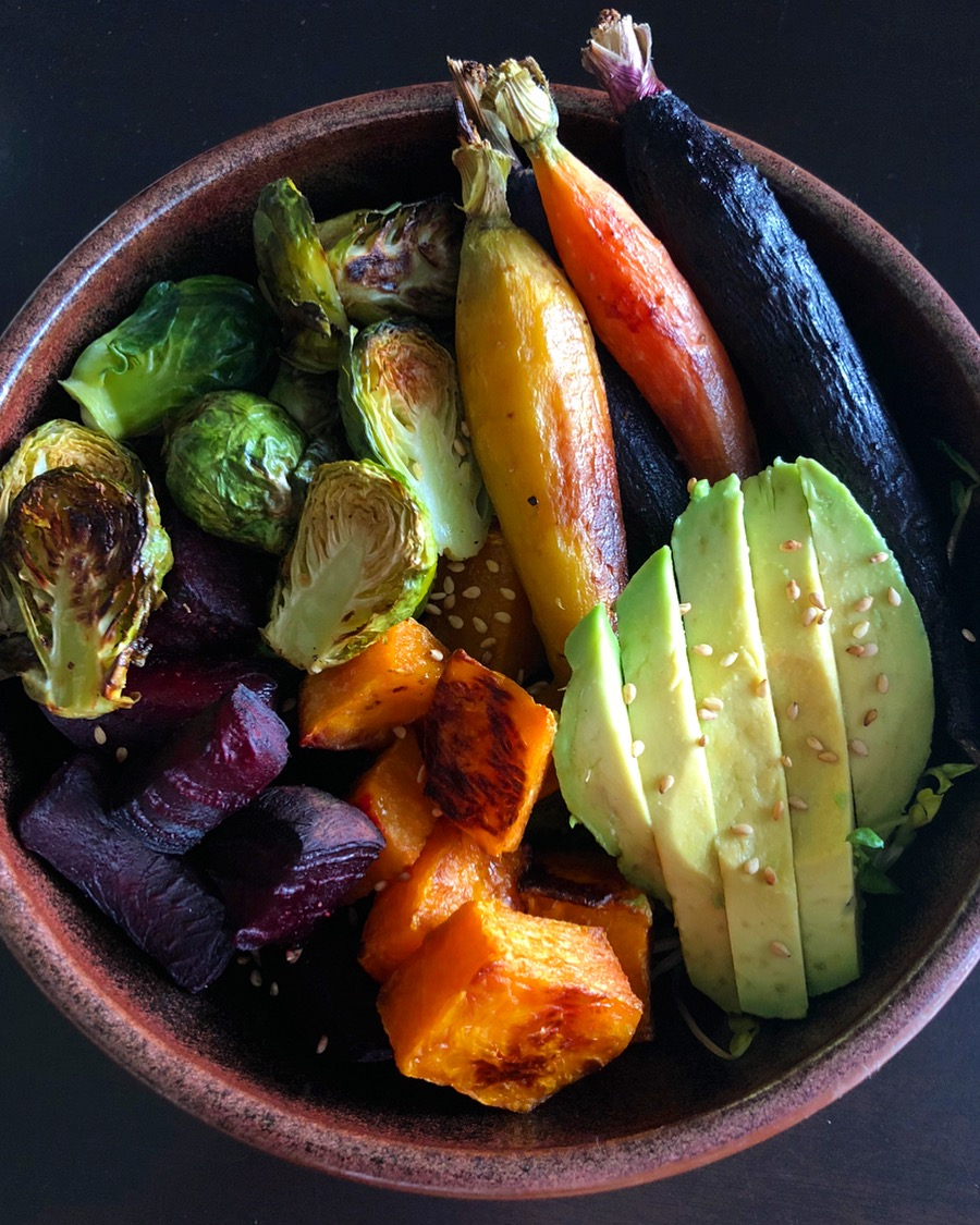 Roasted carrots, roasted butternut squash, roasted beets and brussel sprouts, red lentils/quinoa, and sauteed kale with avocado.