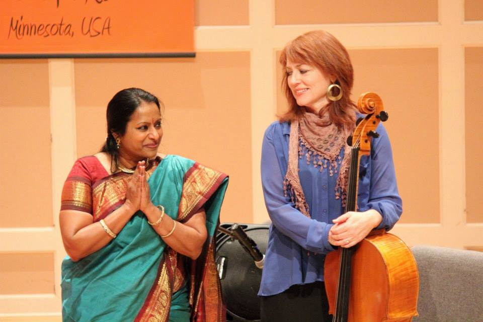 MIchelle Kinney, cello and Nirmala Rajasekar, Veena