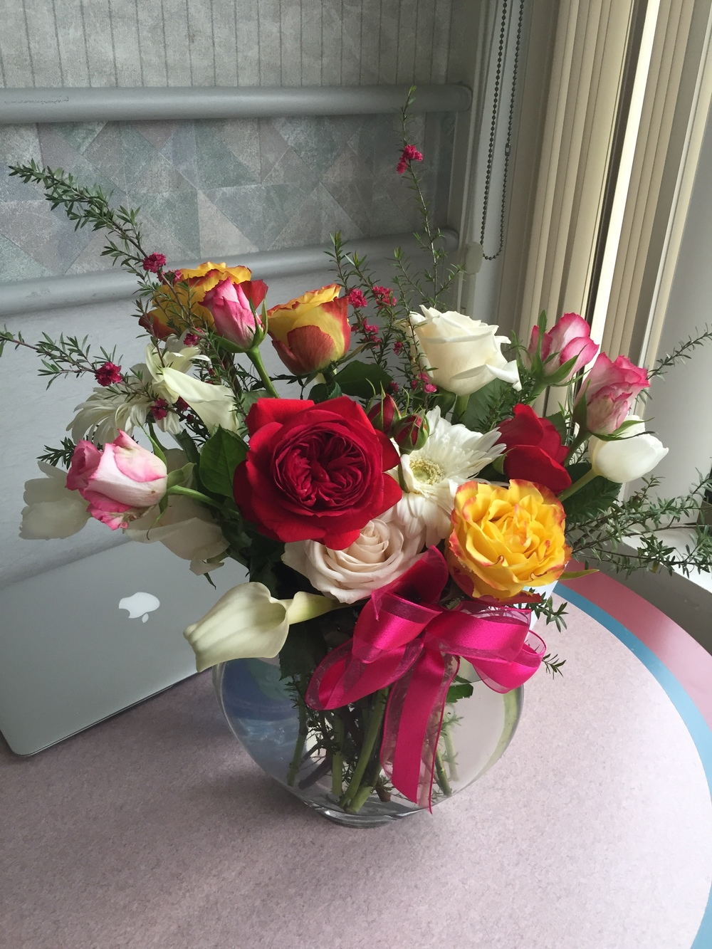 I got so many beautiful flowers while I was in the hospital! Thank you!!