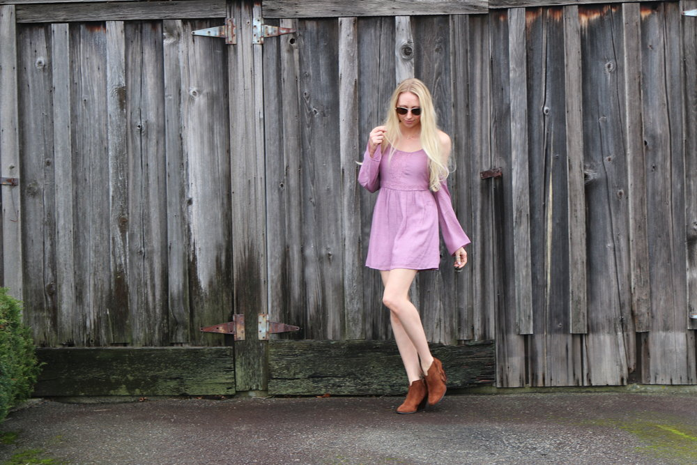 Dress:   Tobi   (courtesy of. only $15!!) // Boots: old, but I LOVE   these ,  these , and  these   // Sunglasses: Kate Spade, and I also love   these   and   these