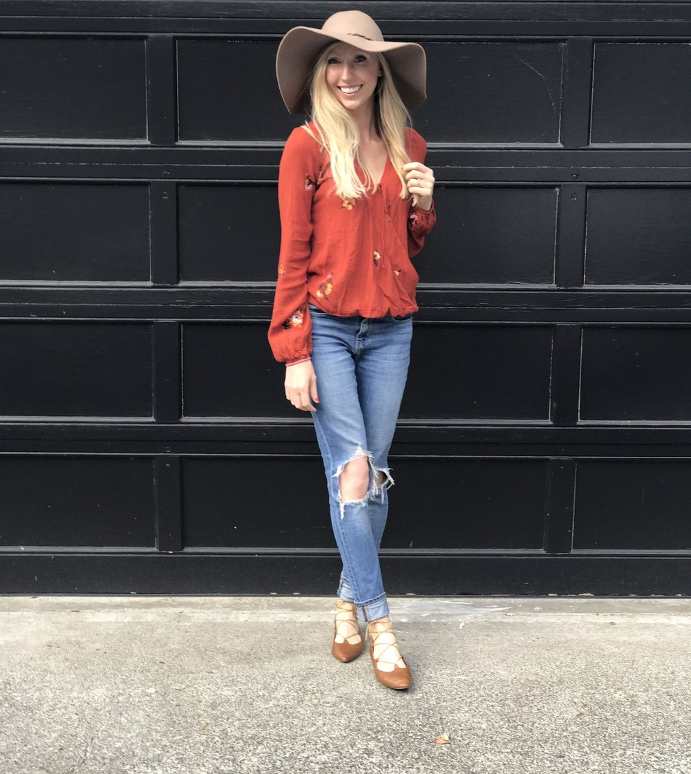 Top: Target, Similar   here   and   here  // Shoes: Nordstrom, Similar   here   // Jeans:   ShopBop    // Hat:   Target  , Also love   this