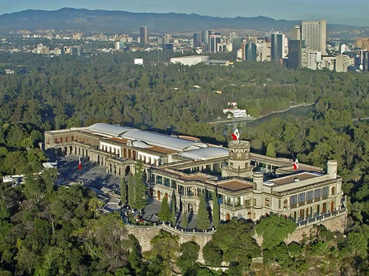 Aerial view of Mexico's National Museum of History (Museo Nacional de Historia).