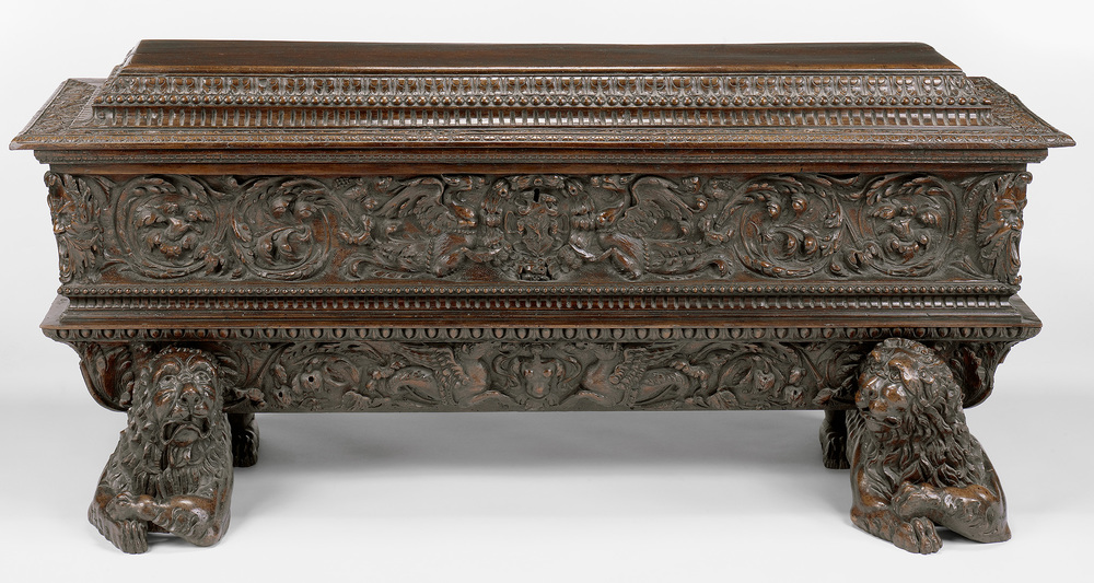Chest , attributed to Antonio Maffei, Italian, 1550 – 1600, carved walnut