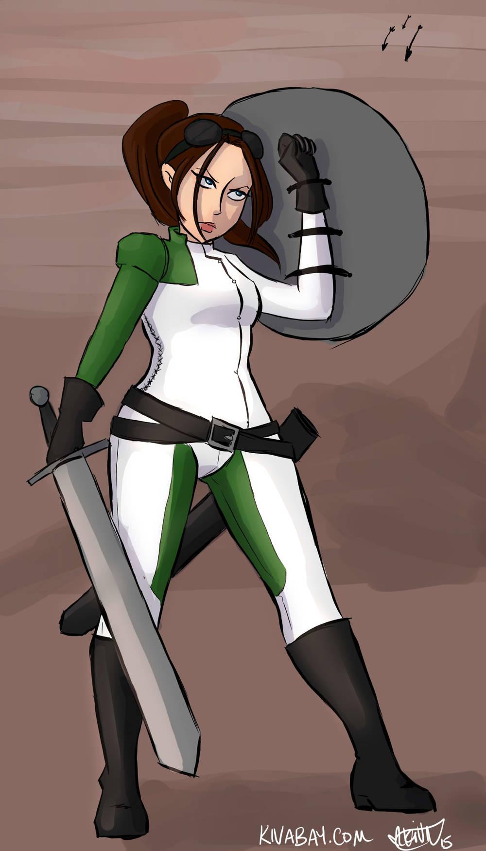 Brianna Wu in Revolution 60-inspired armor for #feministdeck