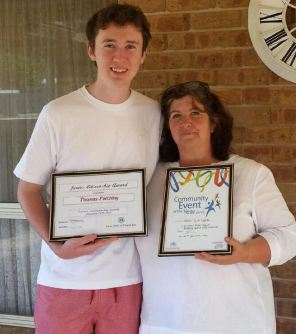 Thomas Patching and Tracey Lawson from the Mallee Up In Lights project with their awards.