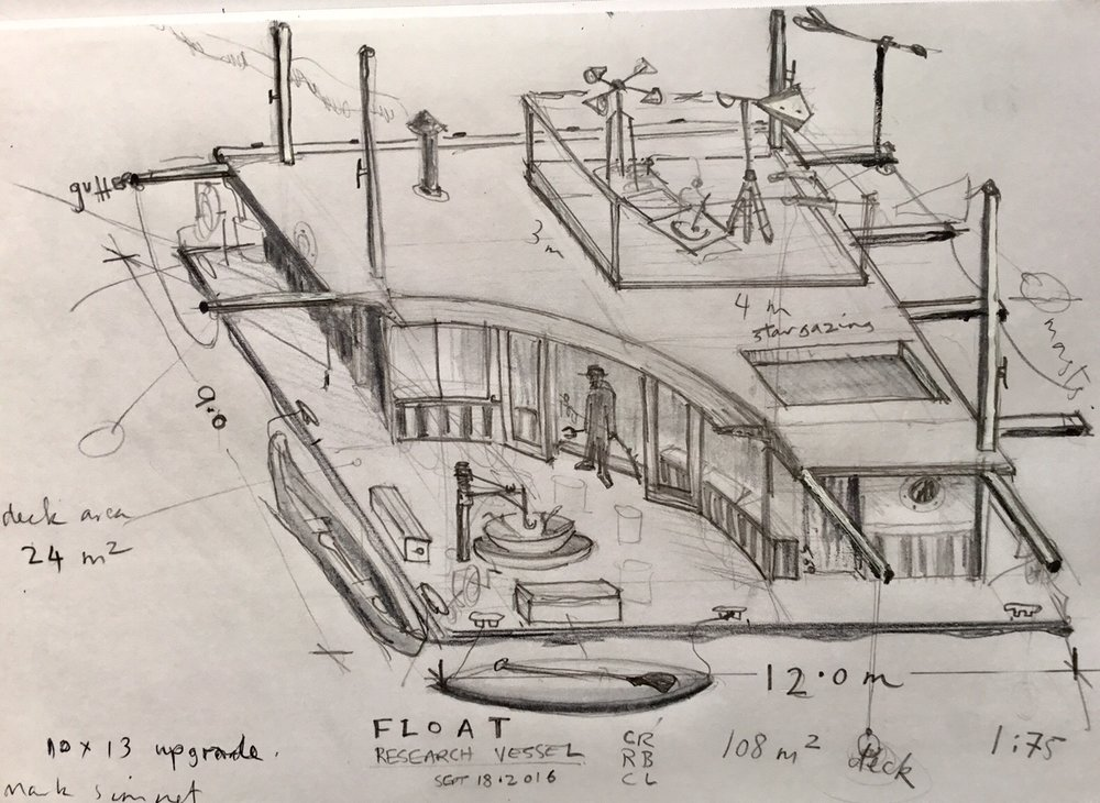 An early FLOAT studio concept drawing by FLOAT design team Cameron Robbins, rory Bolding & Catherine Larkins