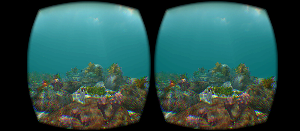 A view of a rock platform through the Oculus Rift.