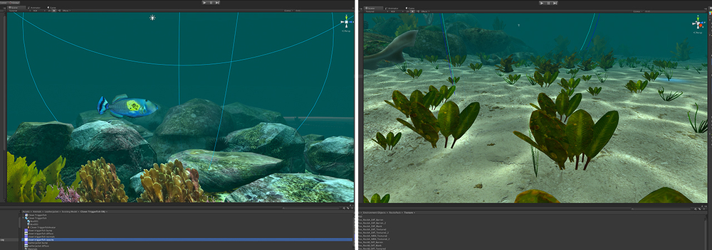 Progress shots of the dive in various stages of development in Unity 3D.