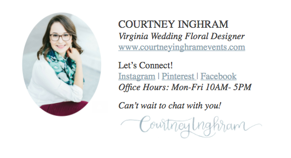 Courtney Inghram Events Floral Design Wedding Richmond Virginia