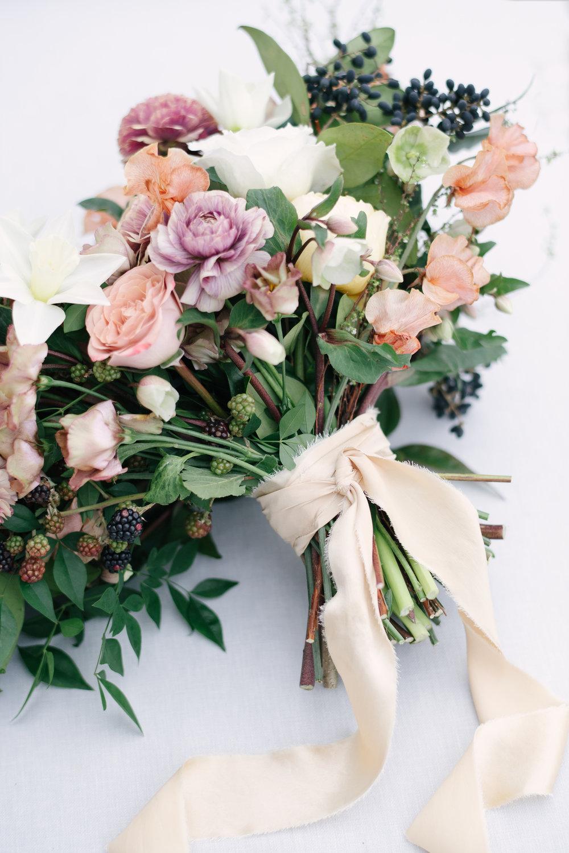 Courtney Inghram Hand-Dyed Silk Ribbon on Wedding Bouquet Virginia Florist