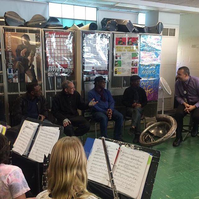 Today Uhadi workshopped with nearly 50 jazz students at Bennett Elementary School with band teacher Harvey Boyer! #education #workshop #jazzmusic