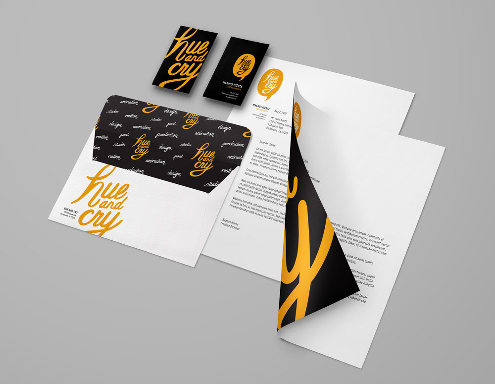 Hue&Cry brand design elements