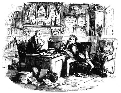 """Attorney and Client, Fortitude and Patience"", from  Bleak House . Illustration by Phiz."
