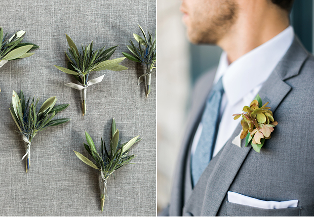 BOUTONNIERE - A fabric or metal lapel pin is best, as it won't droop or wear throughout the day.  If you do wear real flower or greenery, make sure it's small & simple, otherwise it can throw off the balance of your look if it's too big.    LAPEL PIN - Be sure that if your pin includes metal, wood or other materials that it matches the rest of your accessories (cufflinks, watch, etc.)