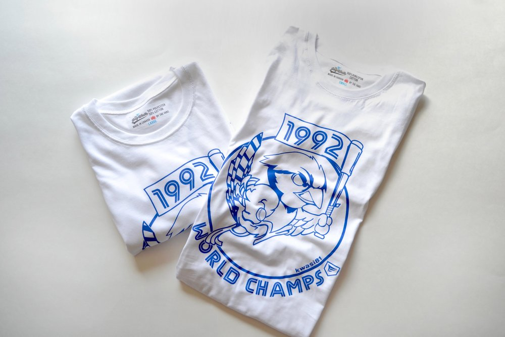 '92 (THE JAYWALK x KWASI) - Our collab tee with Kwasi Amankwah steals the show. Just like the Jays did in the '92 World Series! Grab our vintage tee and relive the glory everyday.