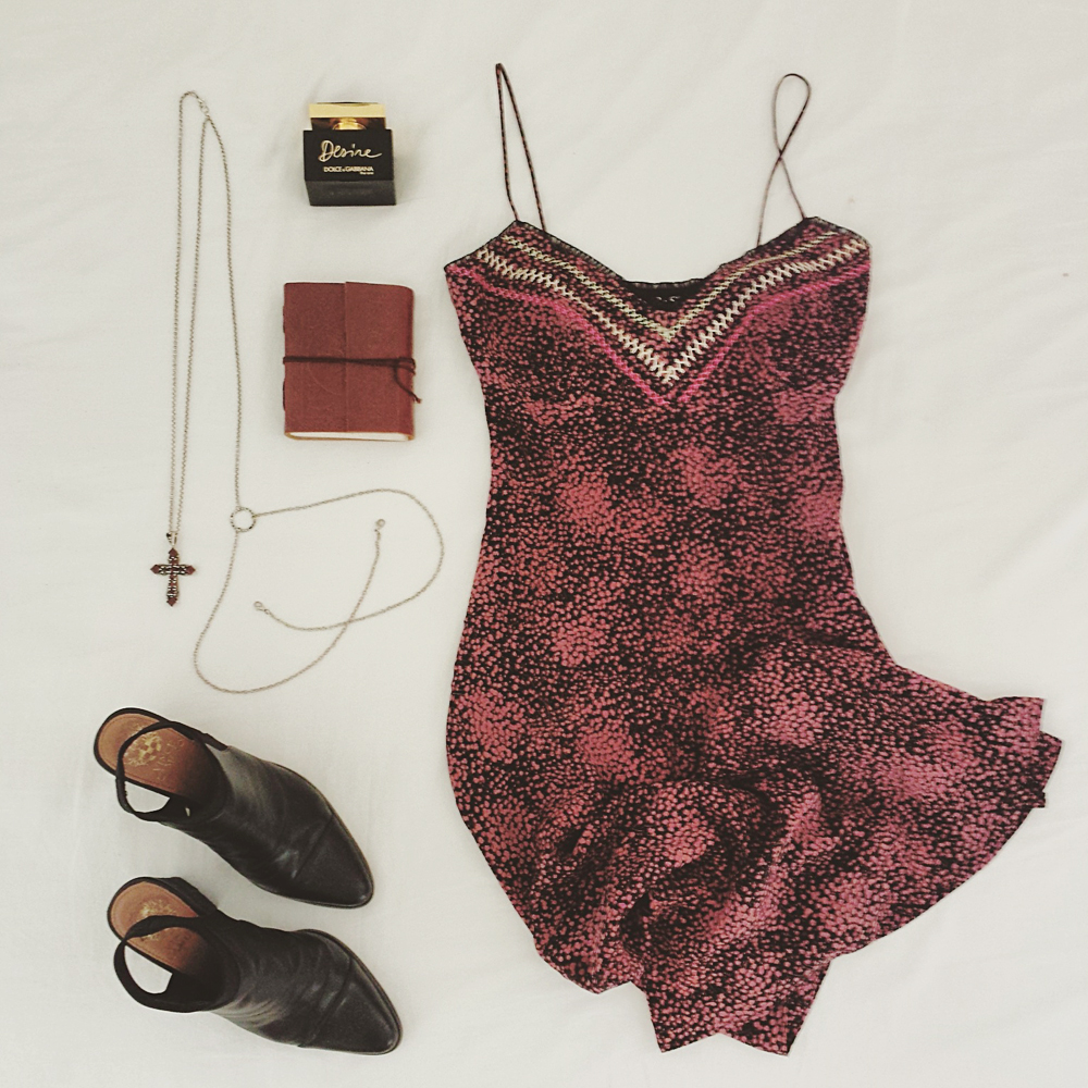 The garnet cross body chain styled with a vintage ABS by Allen Schwartz slip dress and Vince Camuto slingback mules