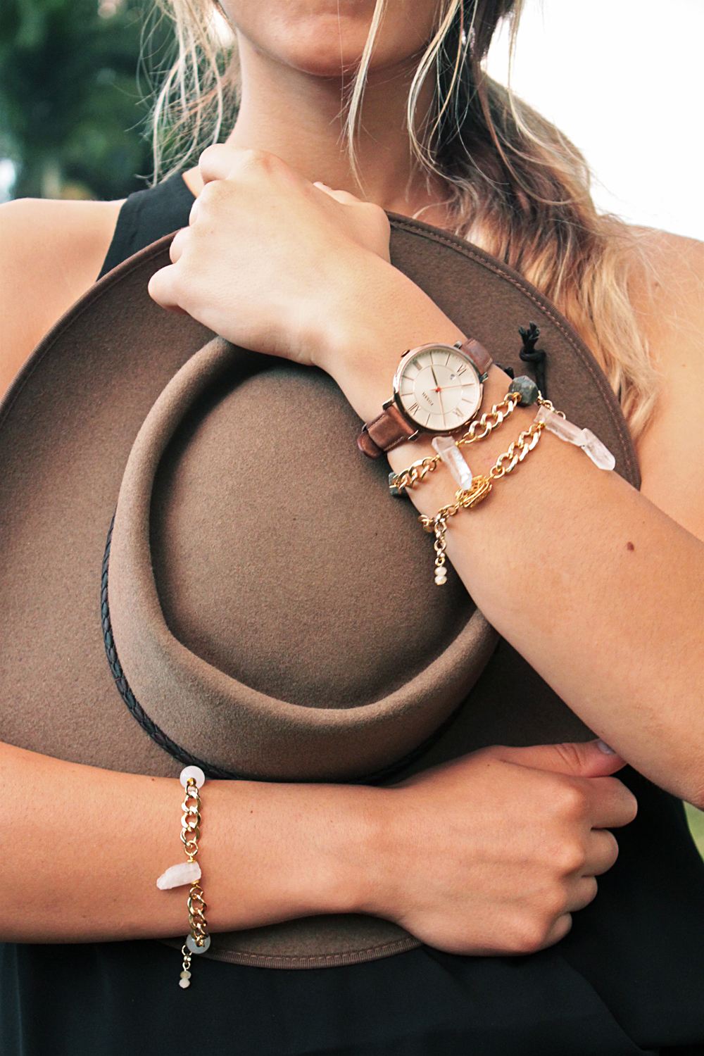 ENARMOUR Bracelets styled with the  Jacqueline  Fossil watch and the  Pastoralist  Akubra hat