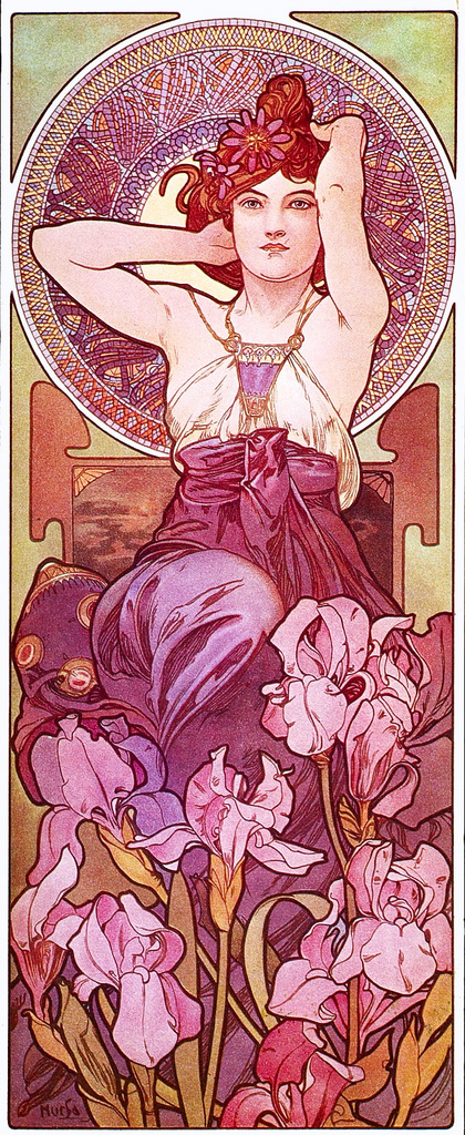 Amethyst Illustration by Alphonse Mucha from his Precious Stones Collection (1900)