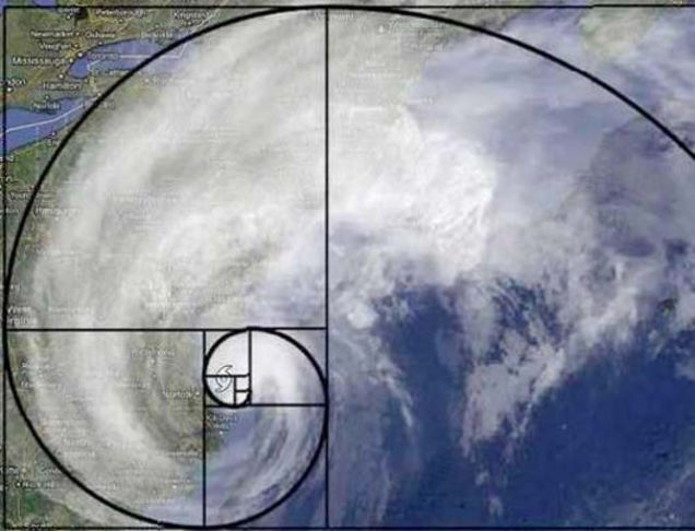 Golden Spiral in the eye of a hurricane