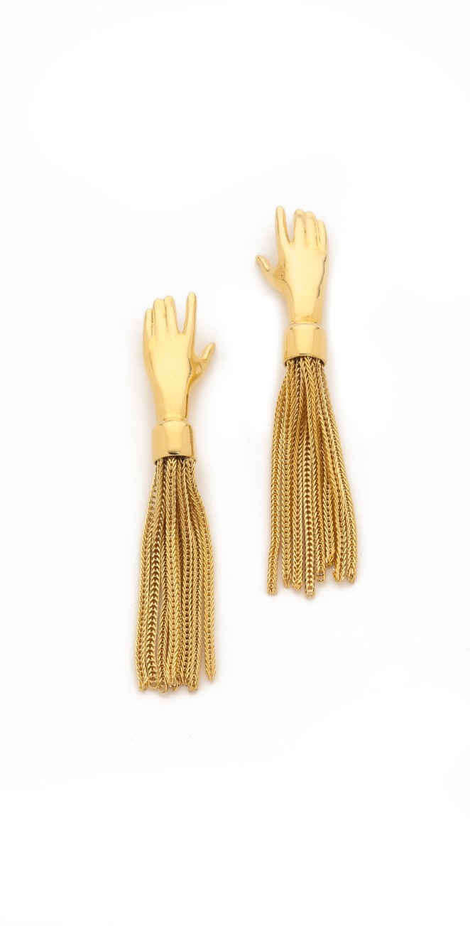 Lady Grey, USA.   Hand Shaped Tassel Earrings.  14K Gold Plated.