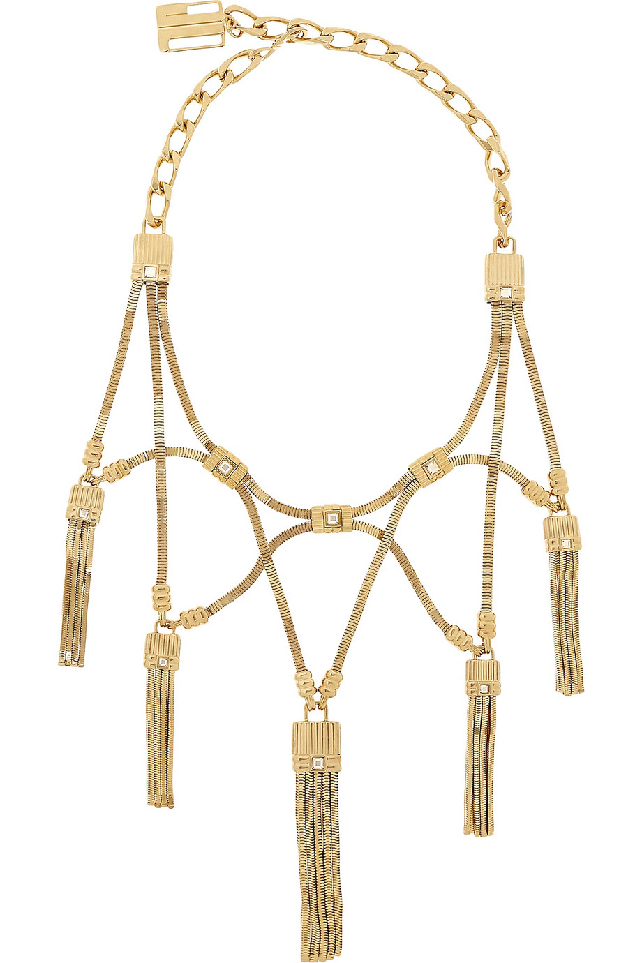 Lanvin, France  . Tasseled Gold Tone Necklace. Gold-tone brass and Swarovski Crystals.