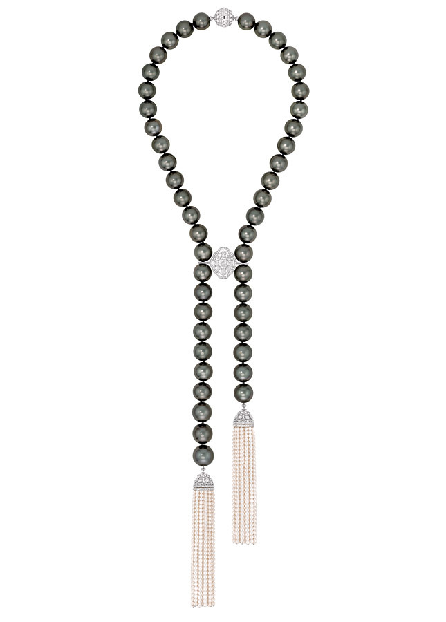 "Chanel, France.    ""Perles de Nuit"" necklace in white gold, set with diamonds, and cultured pearls."