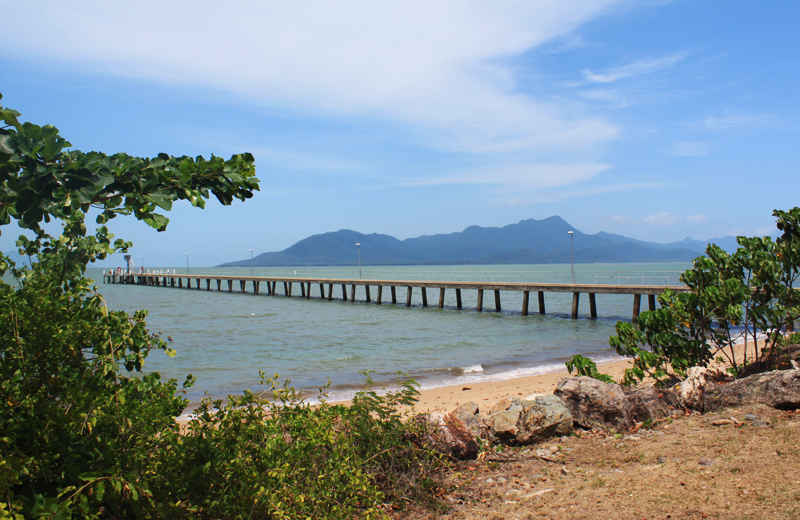 Cardwell Jetty with views of Hinchinbrook Island. The market was just behind me.