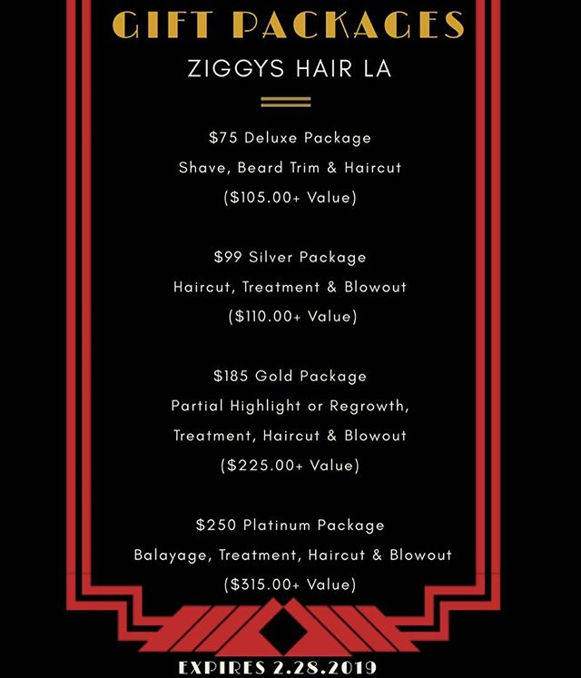 Running out of gift ideas? We have gift packages for everyone! Purchase yours today❤️ #ziggyshairla #culvercity - - - #hair #salon #hairsalon #babershop #barber #haircut #haircuts #happy #loveyourself #giftideas #giftcard #holiday #holidays #holidaygifts #california #losangeles #balayage #beauty #platinumblonde #usc #ucla #platinumhair #longhairstyles #lmu