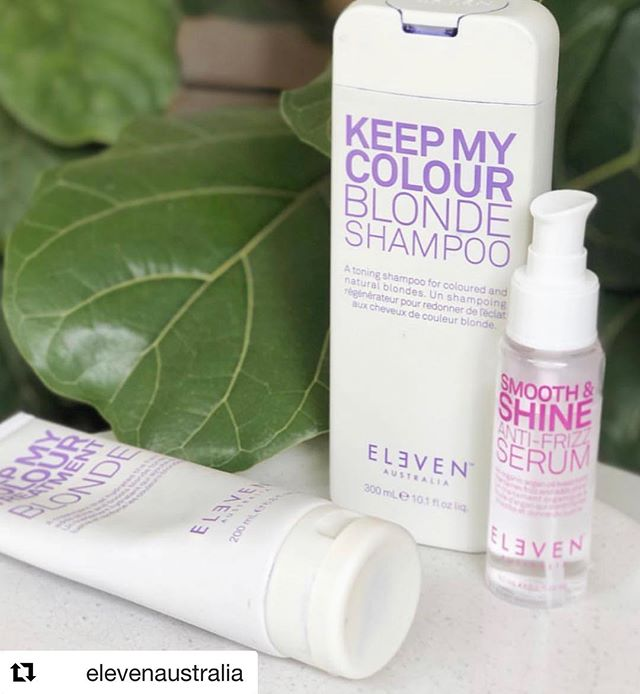 #Repost @elevenaustralia Blonde & Shine 💜✨ Our 'Keep My Colour Blonde' Shampoo is packed with hydrolysed soy and wheat protein to keep blonde hair healthy, strong & beautifully toned, while our 'Keep My Colour Treatment Blonde' is both #veganfriendly and #glutenfree with Macadamia Nut Oil to hydrate the hair, add shine and boost blonde. Our Smooth & Shine Anti Frizz Serum is a treatment that tames frizz and adds shine. With argan oil to control even the most stubborn flyaways, this serum is the ultimate frizz fighter. Finalist for 2016 Australian Hair Fashion Awards Best New Professional Styling Product this product is also #veganfriendlybeauty & #glutenfreebeauty #ELEVENAustralia ##crueltyfreebeauty #blondeproducts #blondetreatment image @zoe__jada