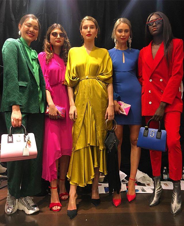 Ladies 🙌🏾👀💥 - #vfno2018 #bts #styling #boldcolour for @davidjonesstore 💚💖💛💙❤️ #springsummer18 #inspiration