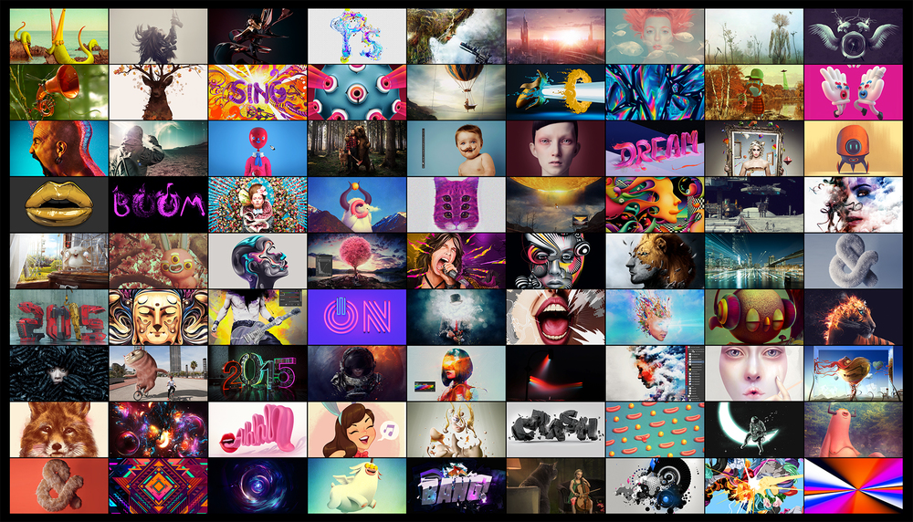 Some of the artwork curated from artists on Behance, Adobe's online community.