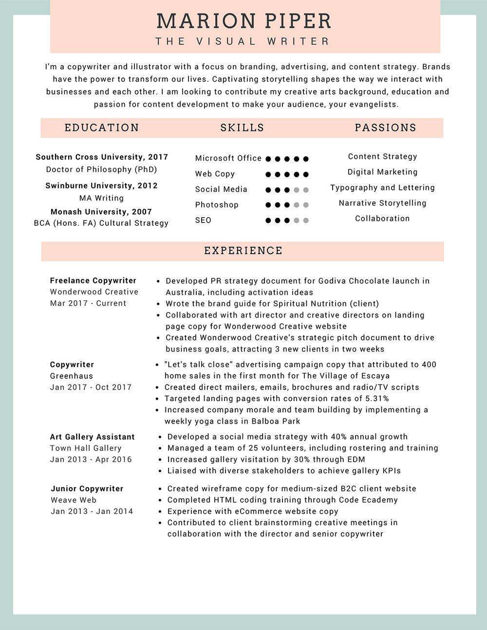 cv resume the visual writer