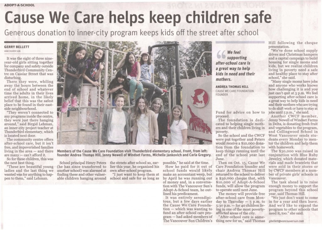 Vancouver Sun article on Thunderbird and Cause We Care