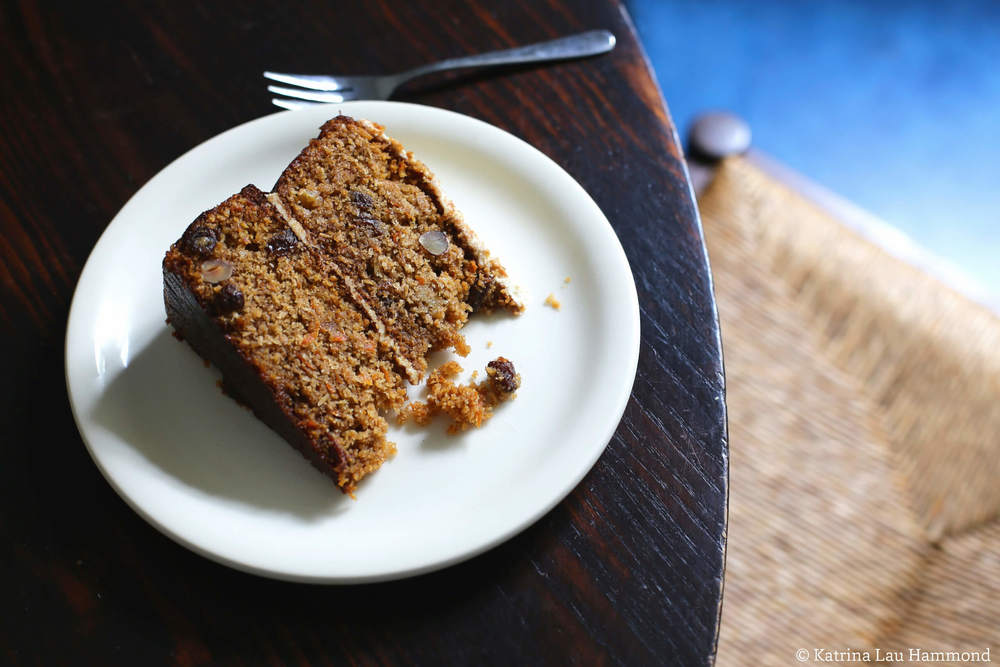 Carrot, coconut, pineapple and hazelnut cake